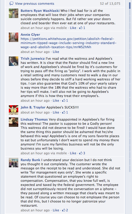 People lash out against Applebees on Facebook.