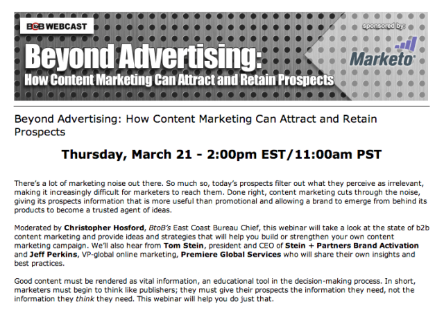 Content Marketing Webinar on March 21st at 2pm EST
